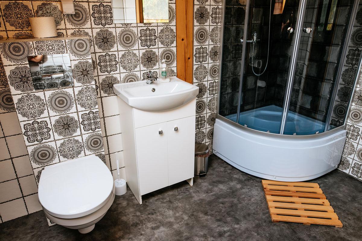 prysznic umywalka i toaleta w łazience pokoju rodzinnego