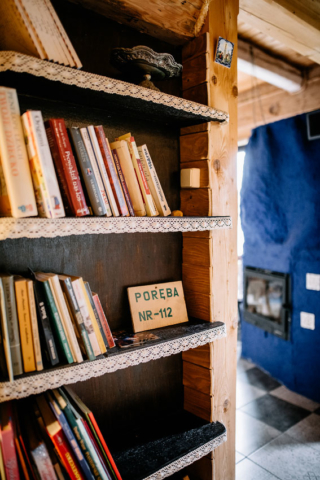 biblioteczka i kominek na parterze